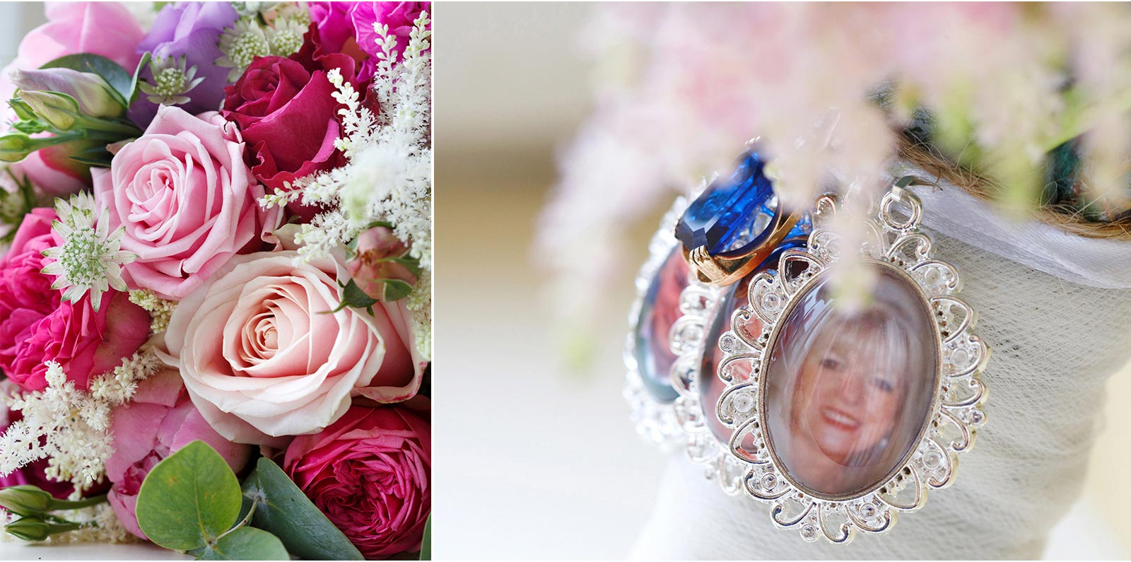 Wedding flowers with photo momento