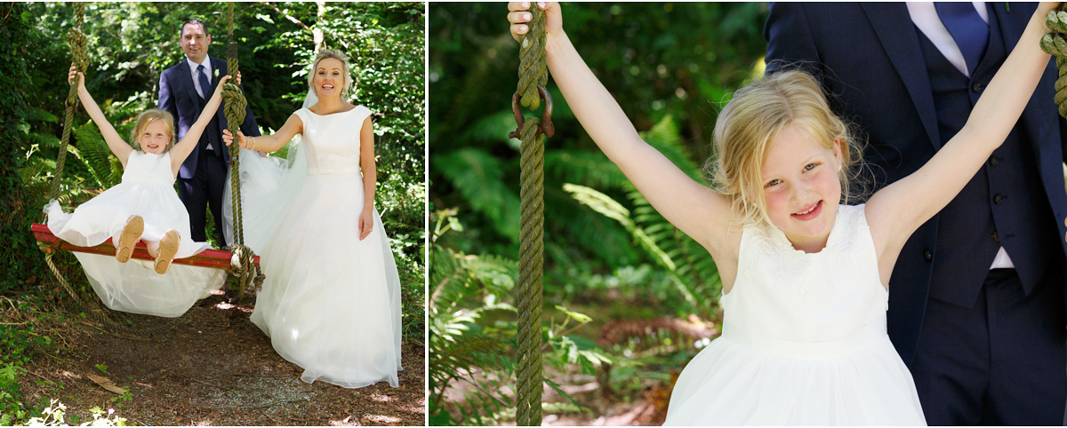 Ballinacurra House wedding natural photographs on a swing in the woods