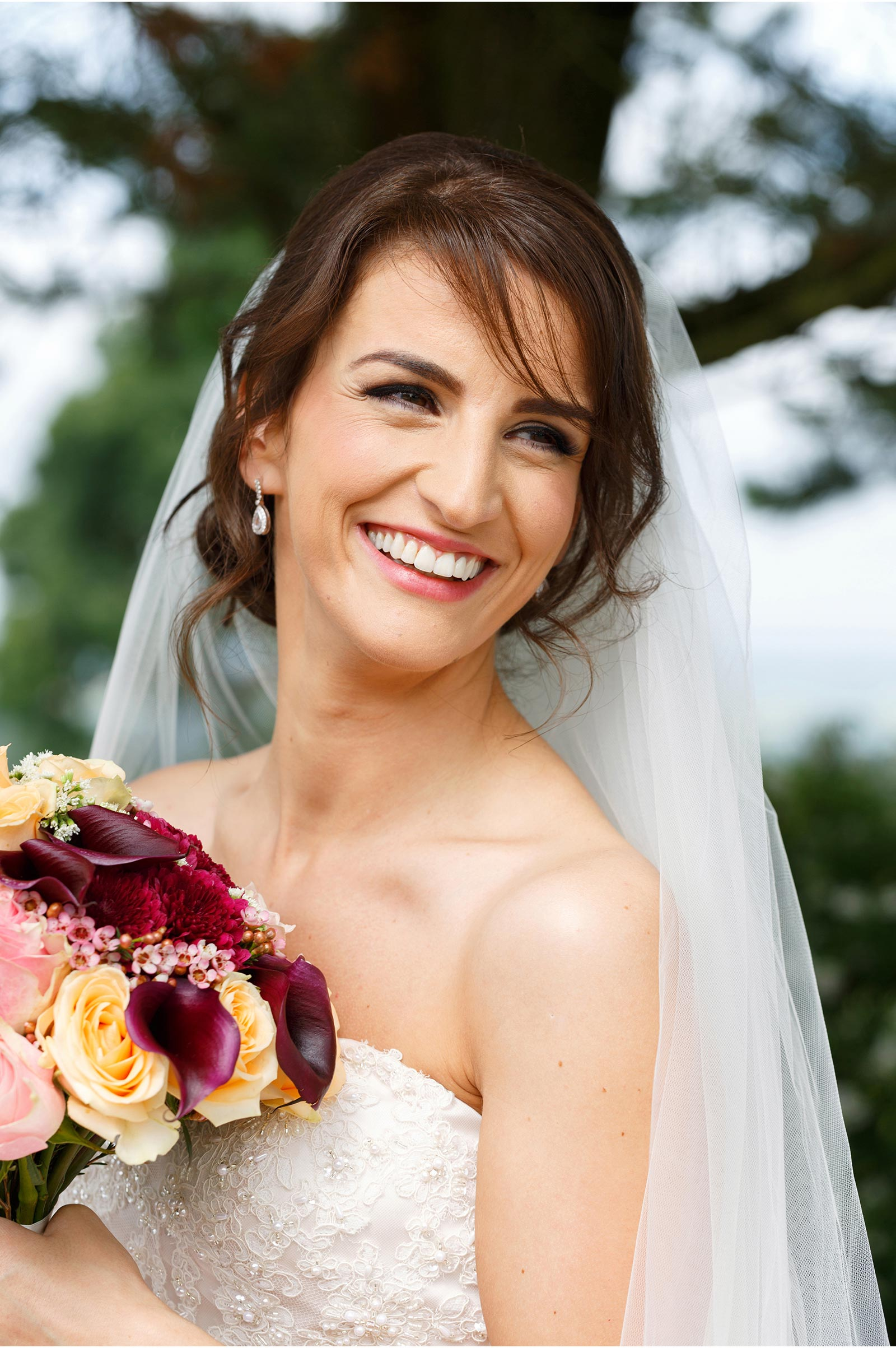 smiling brunette bride