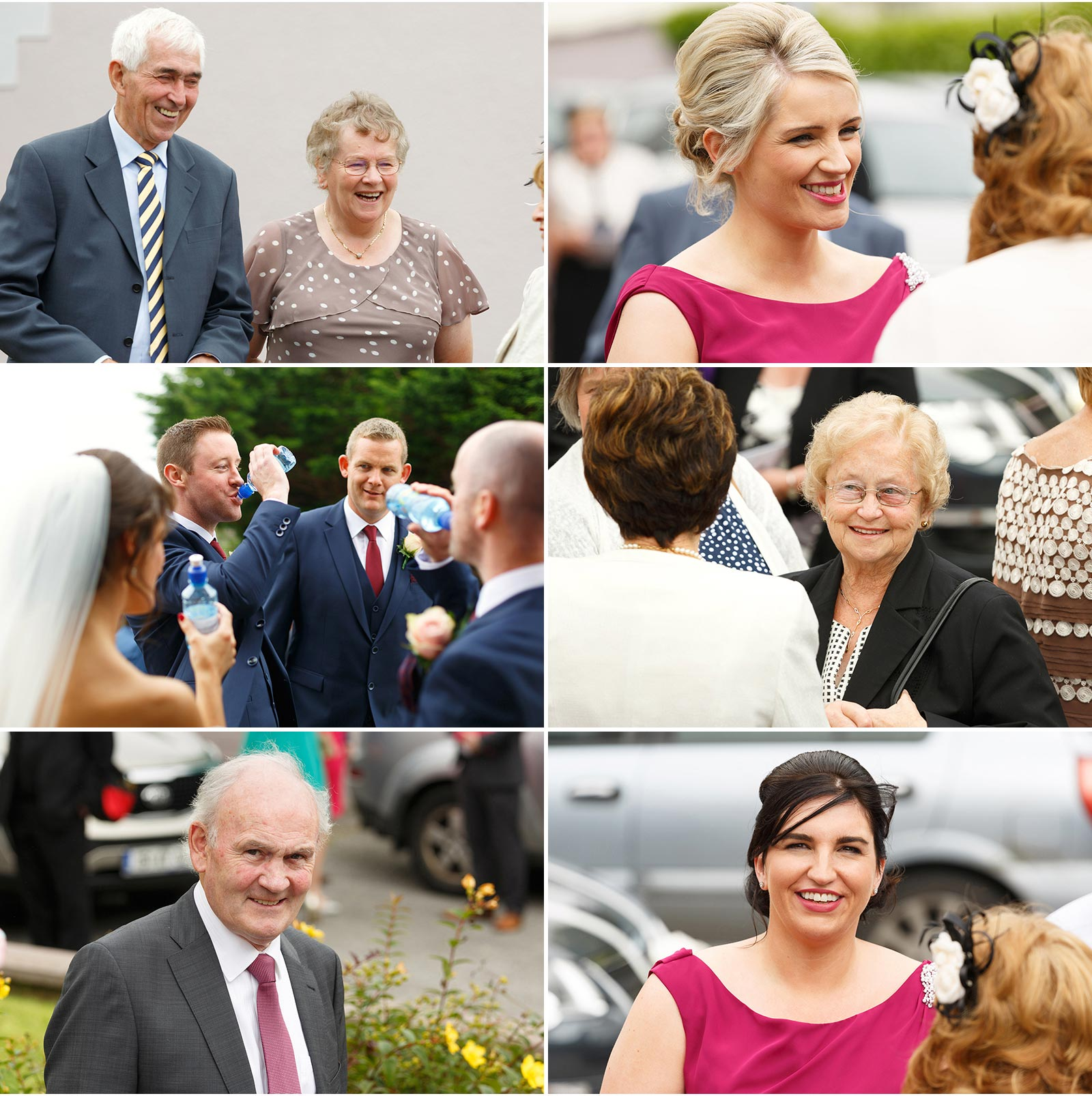 candid shots of wedding guests outside Kilflynn church in Kerry