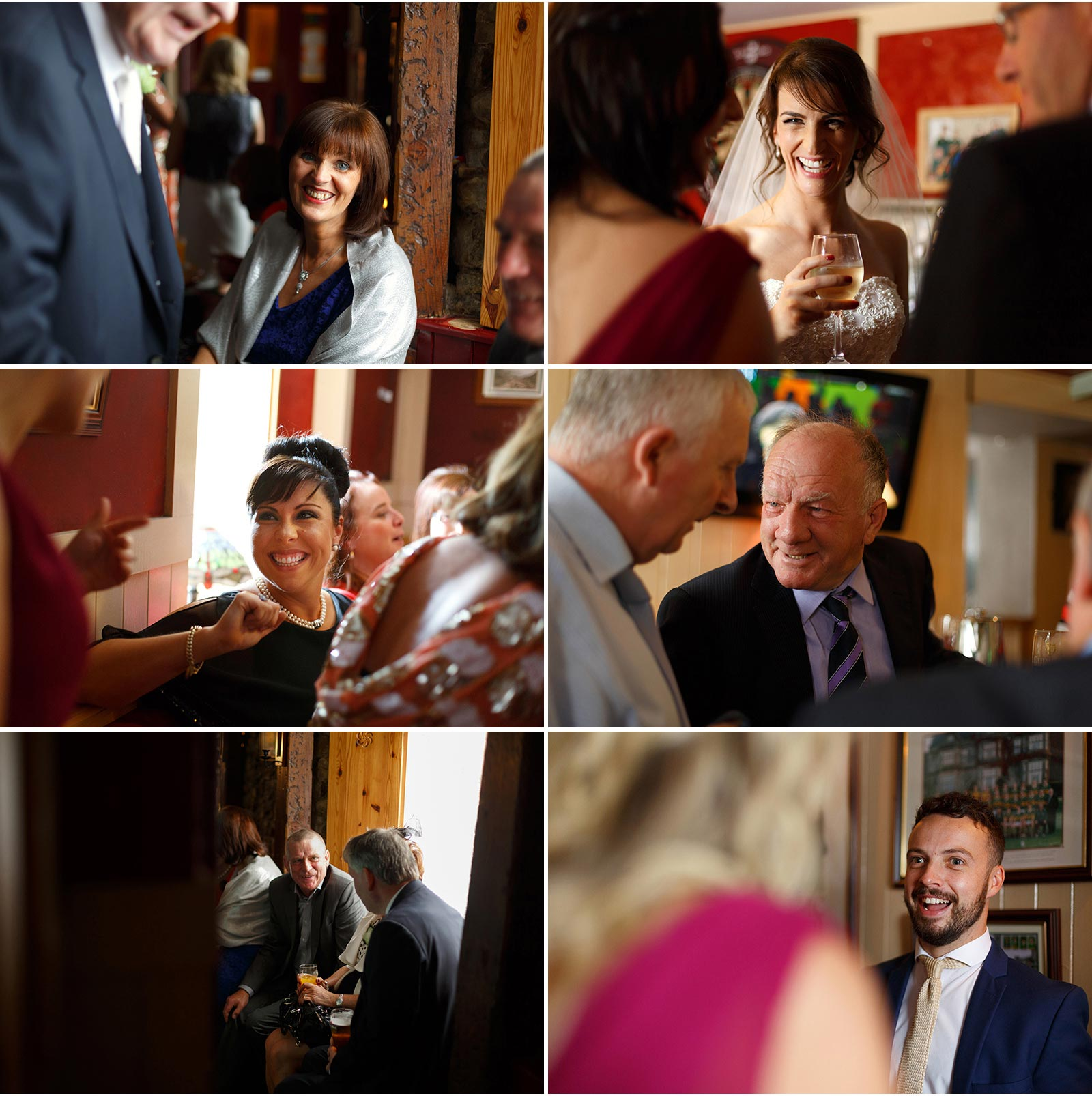 candid shots of wedding guests in a lovely traditional irish pub