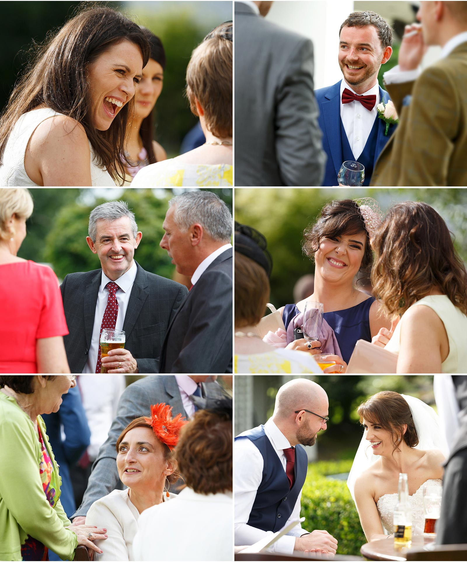 candid shots of wedding guests enjoying the reception at Ballygarry House in Tralee