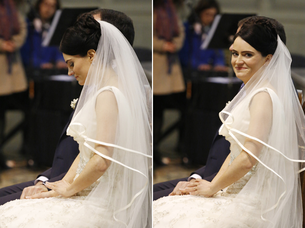 bride admires wedding ring and bride smiling at photographer Claire O'Rorke