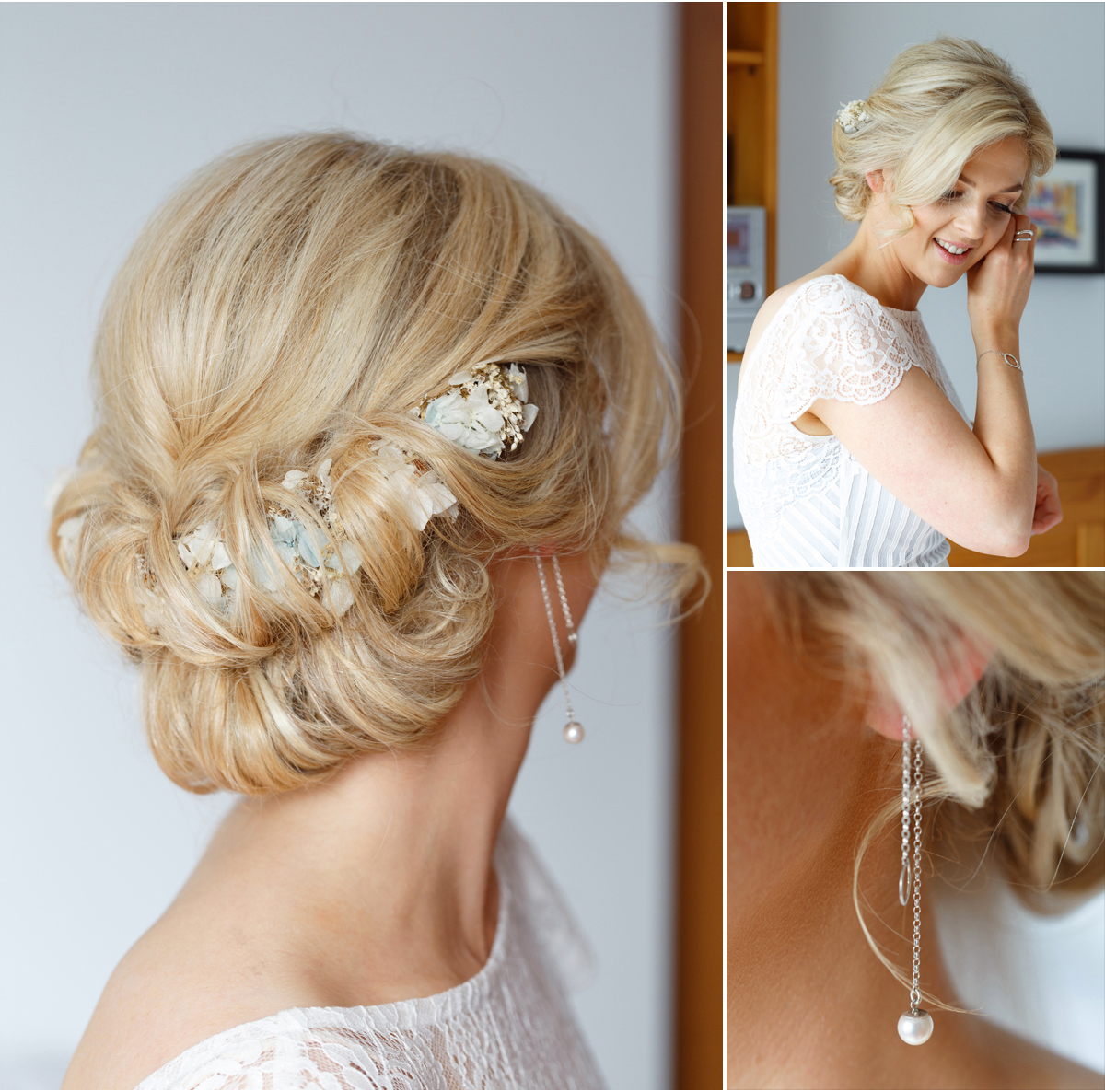 soft bridal hair with flowers
