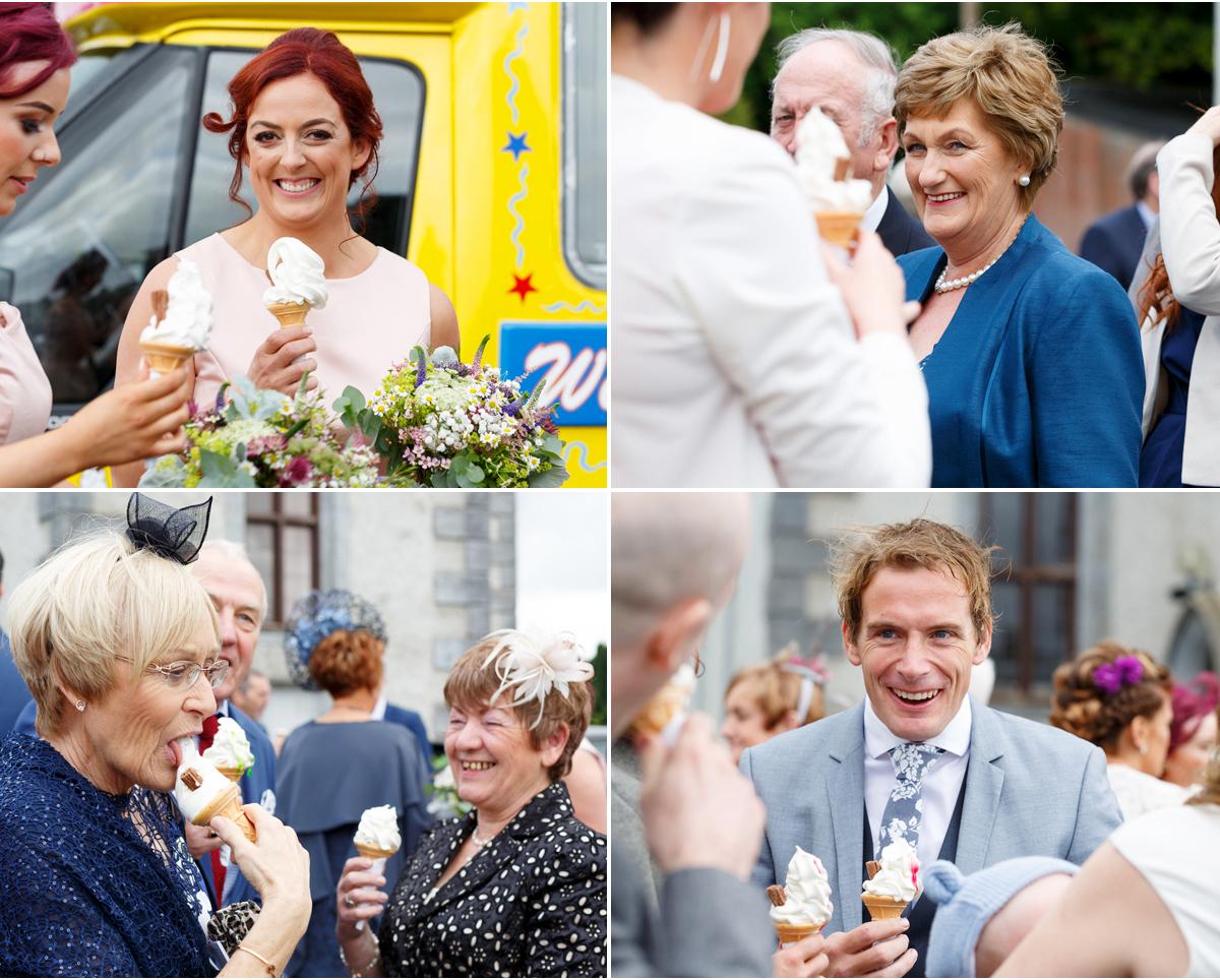 wedding guests with ice cream cones