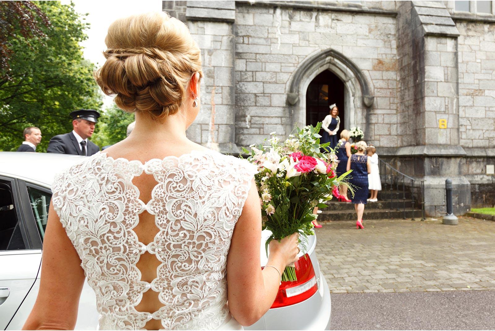 Bridal Bliss Blackpool, back of wedding dress, UCC, Aula Maxima, Cork wedding photogrphers