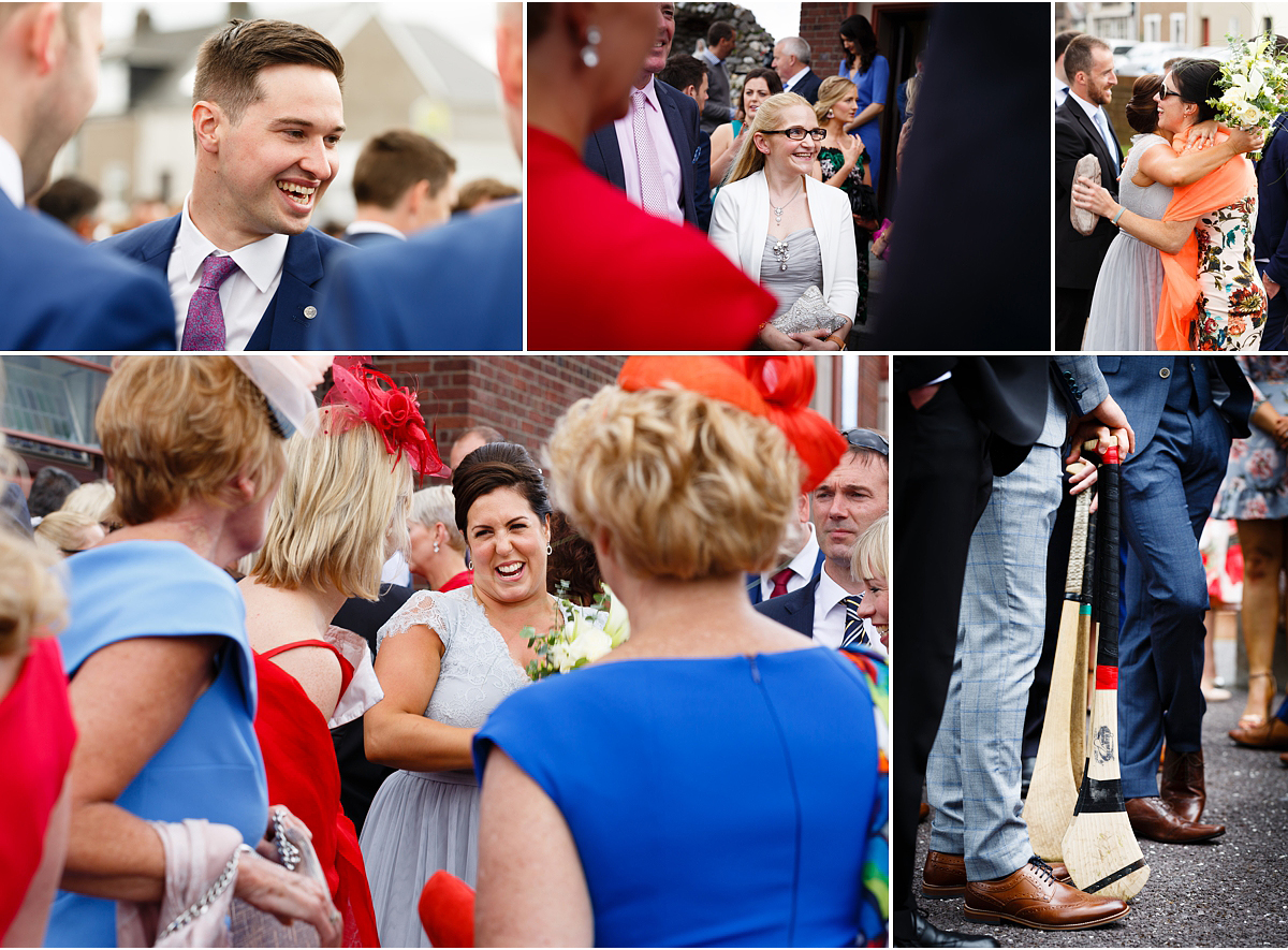 5 small photos of guests mingling outside church after wedding