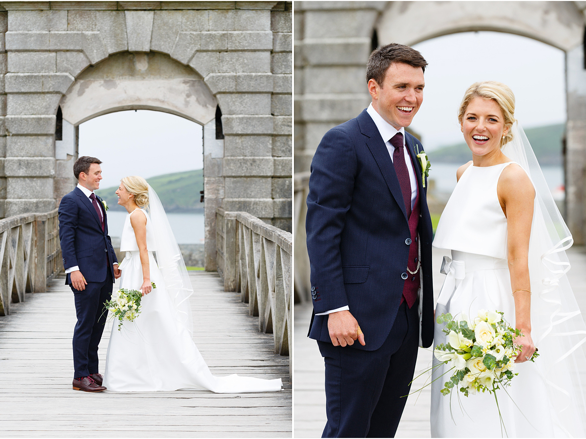 bride and groom laughing at Charles Fort Kinsale Cork