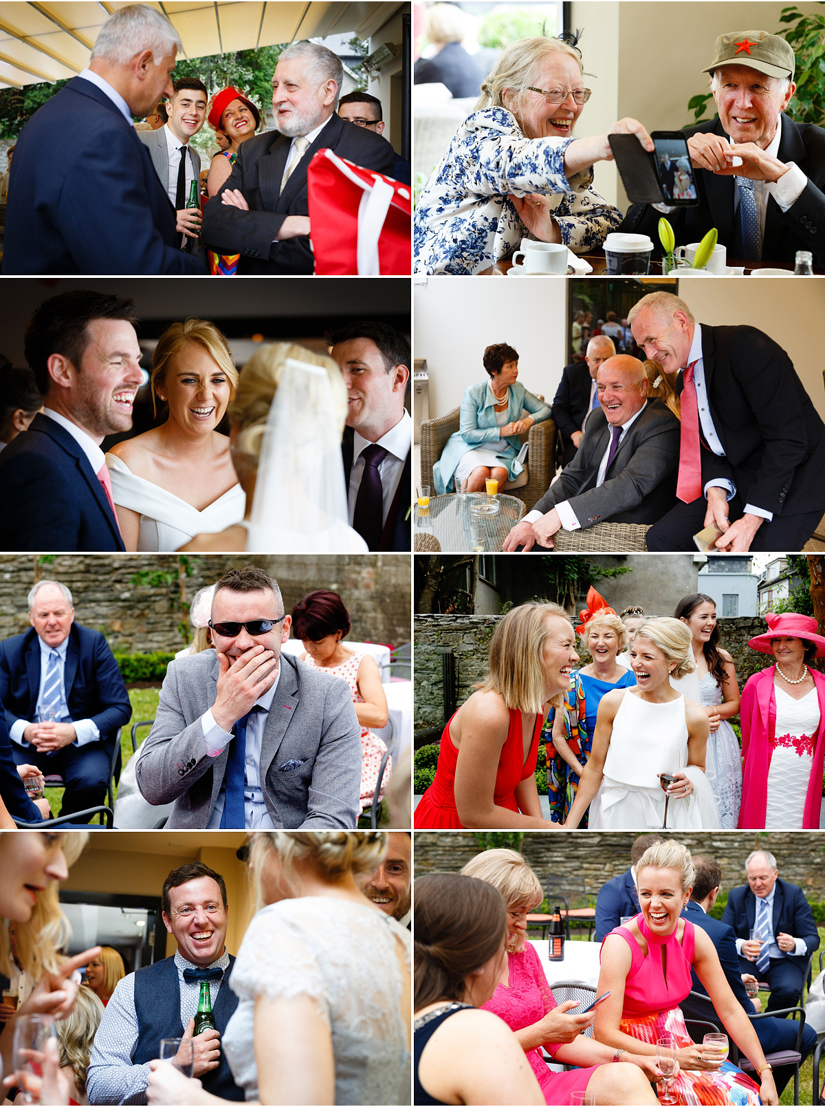 selection of small candid photographs of wedding guests having fun during drinks reception