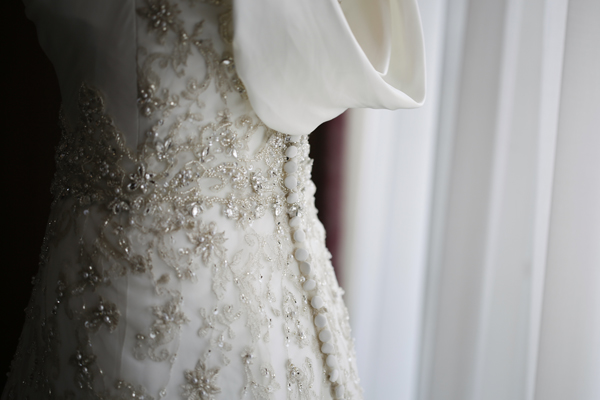 detail of back of wedding gown