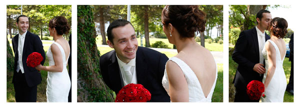 bride and groom see each other for the first time happy groom by female wedding photographer claire o'rorke