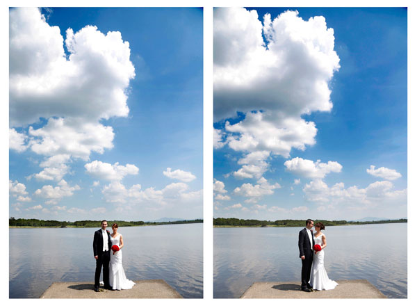 bright sunshiny photograph of a bride and groom at Killarney golf course on a pier by the lake with a big blue sky taken by female wedding photographer claire o'rorke