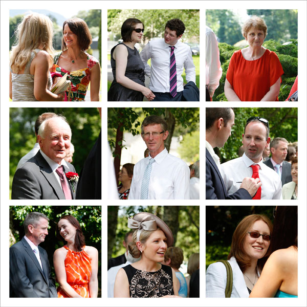 small photographs of guests at a wedding chatting taken by female wedding photographer Claire O'Rorke