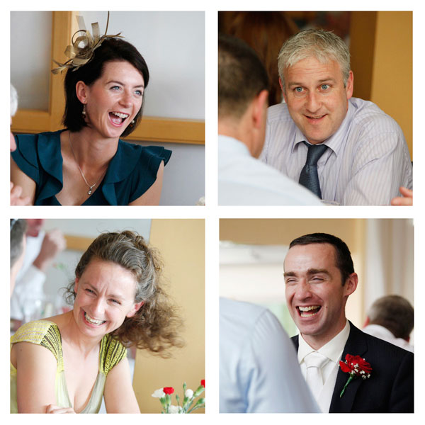photographs of wedding guests laughing