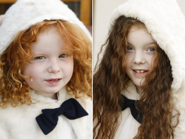 portraits of two flower girls with their warm capes