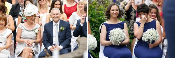 happy guests at garden wedding