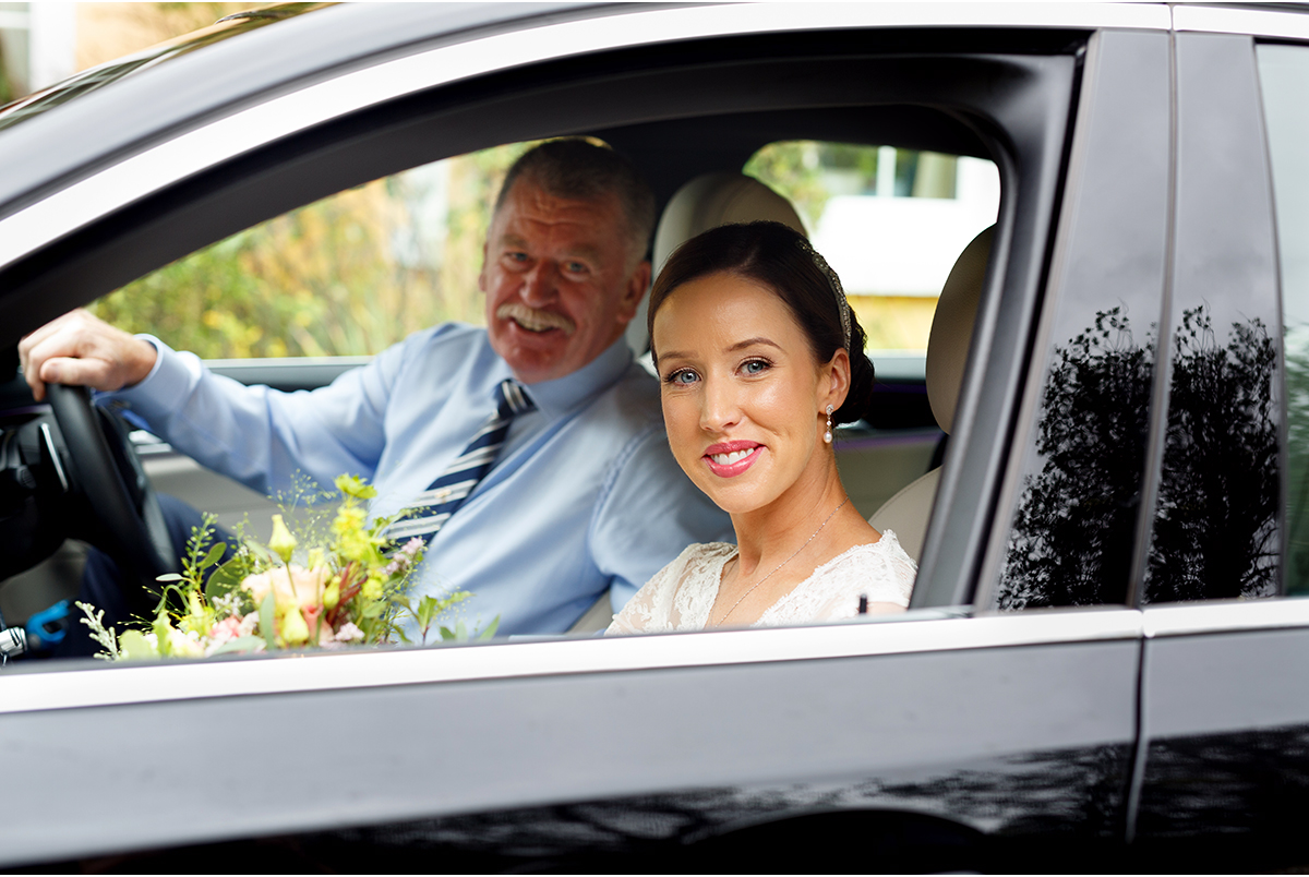 bride and father candid wedding photographer cork
