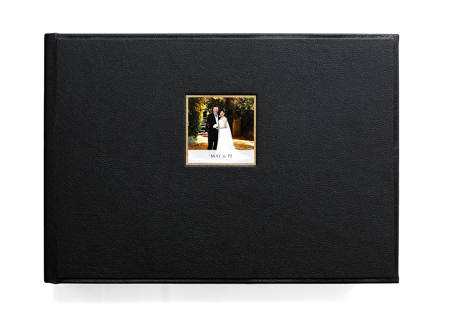 10x14 inch album in classic black leather and small photo front