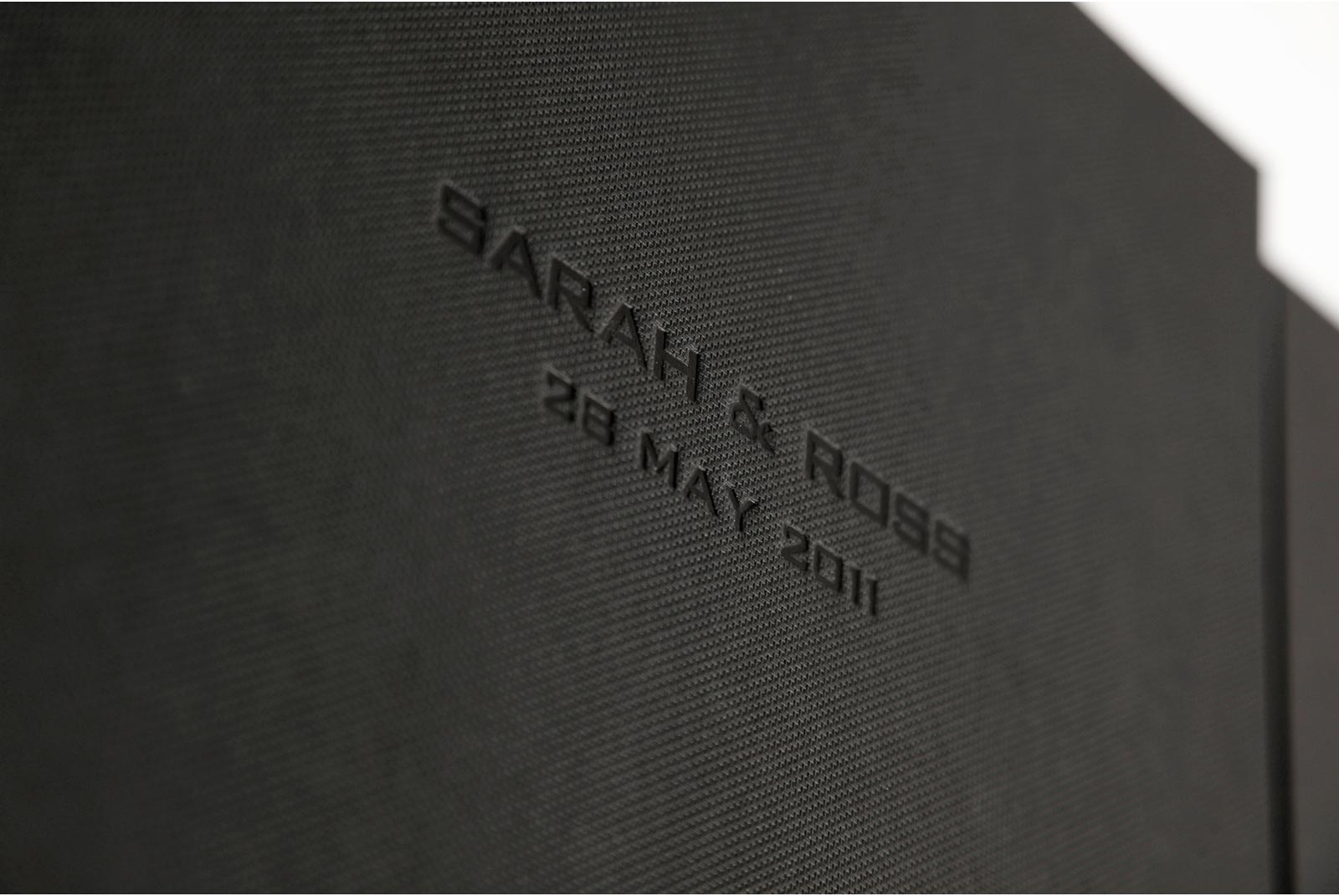 Wedding album with embossed names