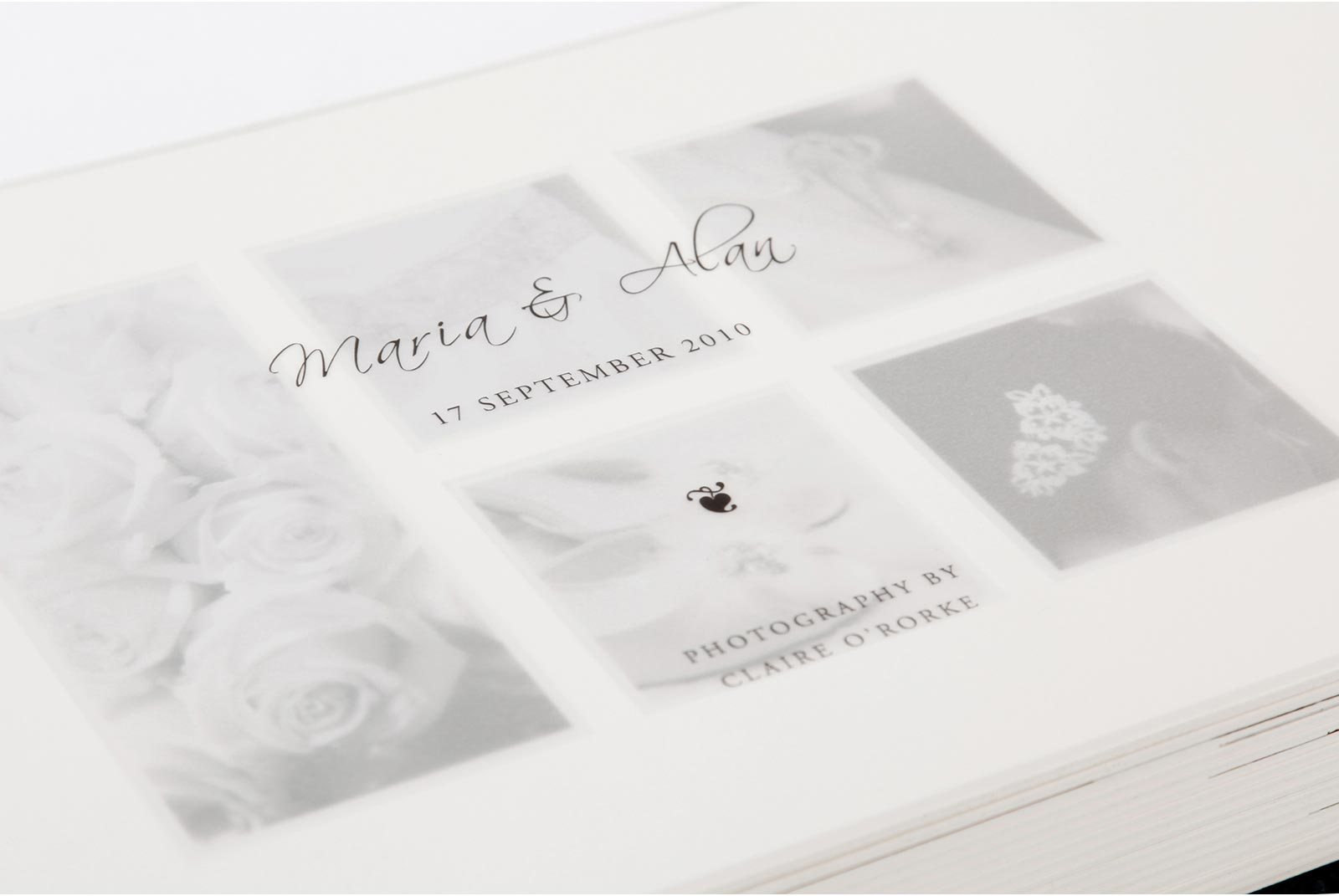 Translucent title page in Queensberry wedding album