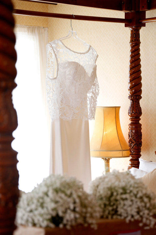 wedding dress hanging