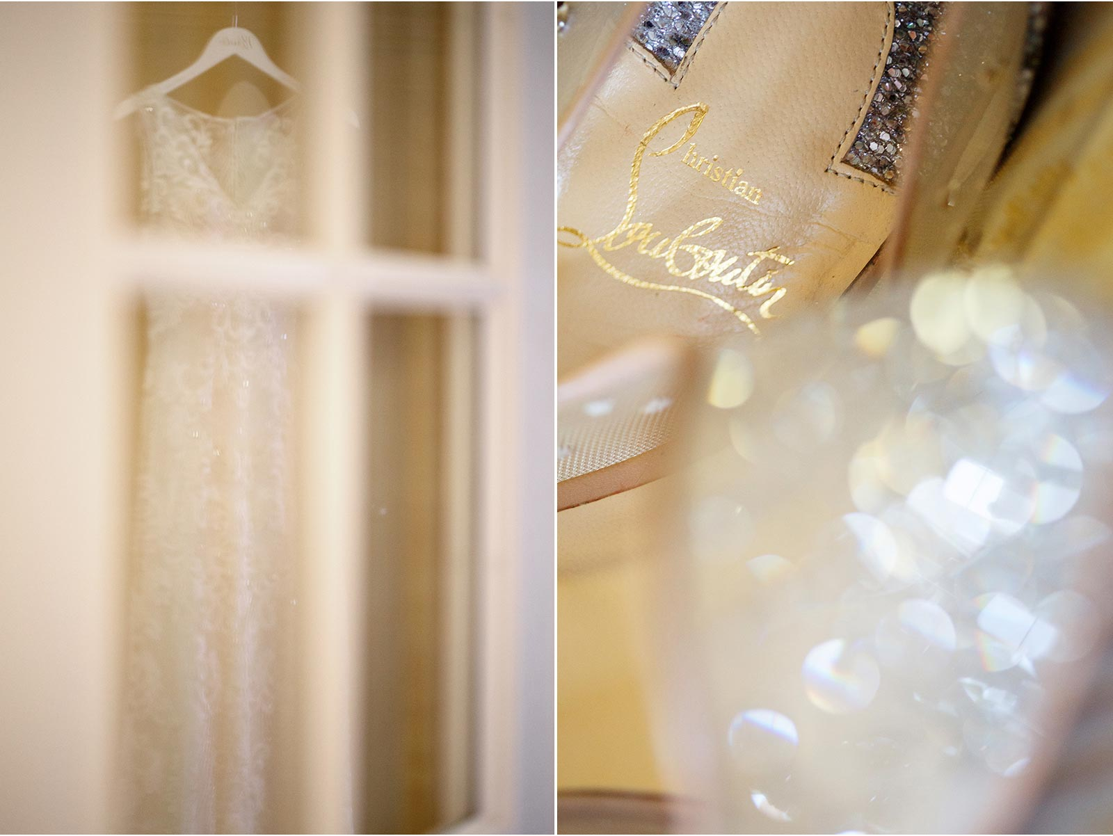 Wedding preperations, wedding hoes and reflection of wedding dress