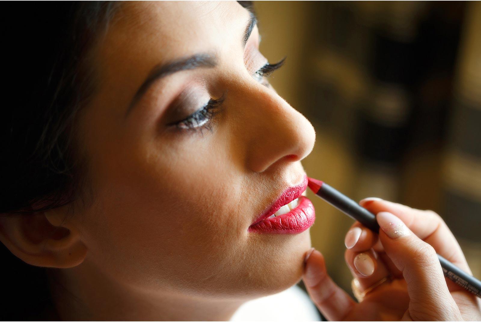 Wedding make up being applied