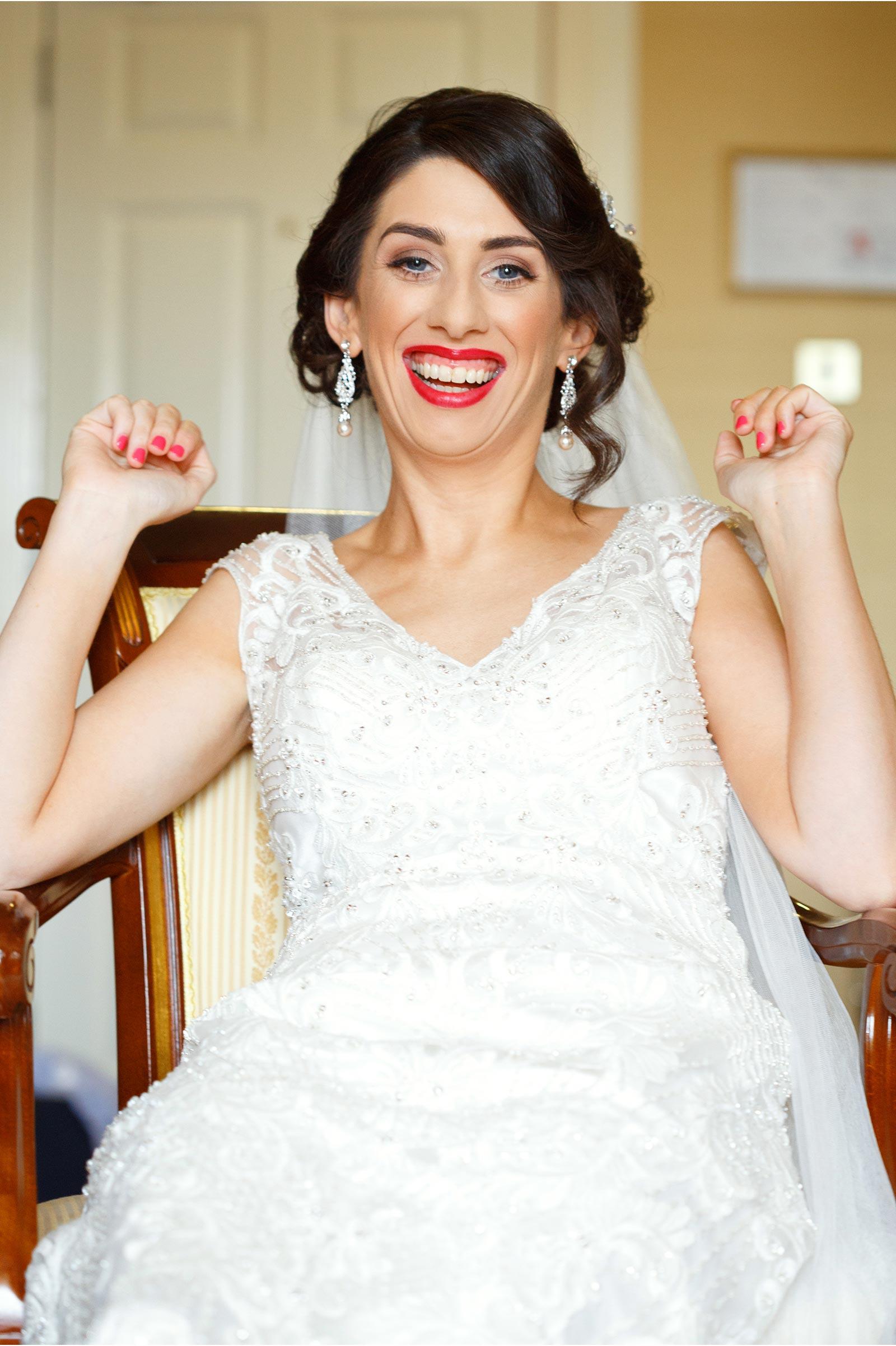 Happy bride laughing