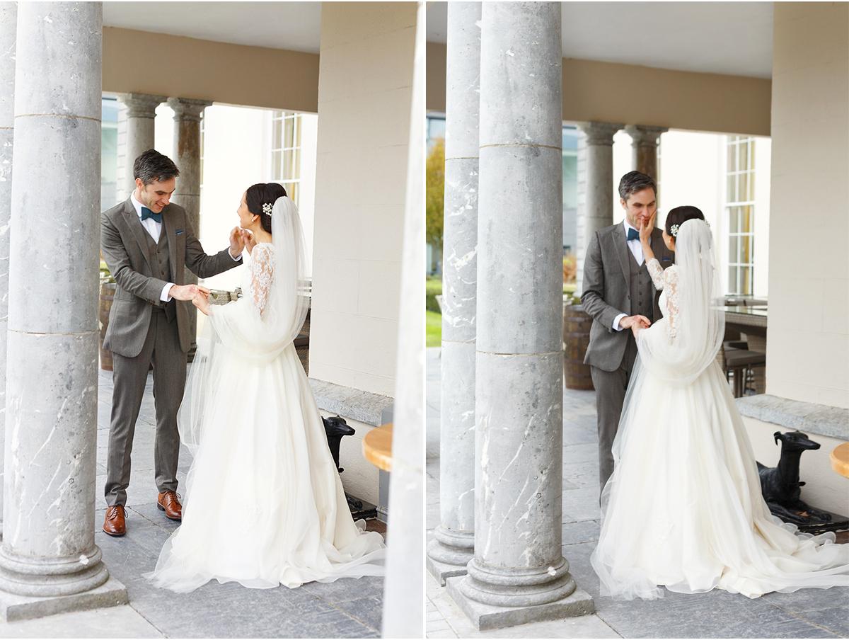 first look at Irish wedding