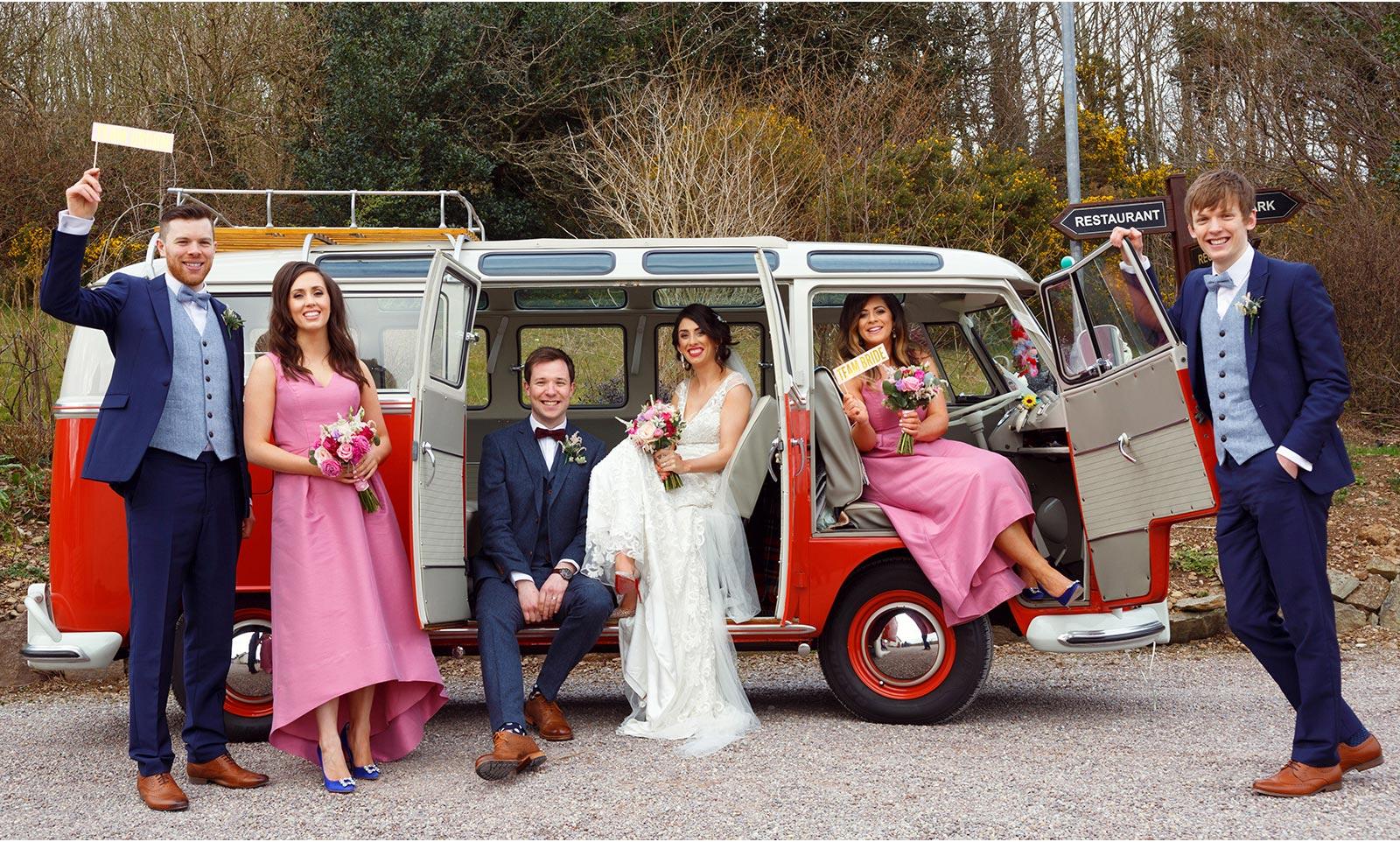 Bridal Party pose on VW campervan