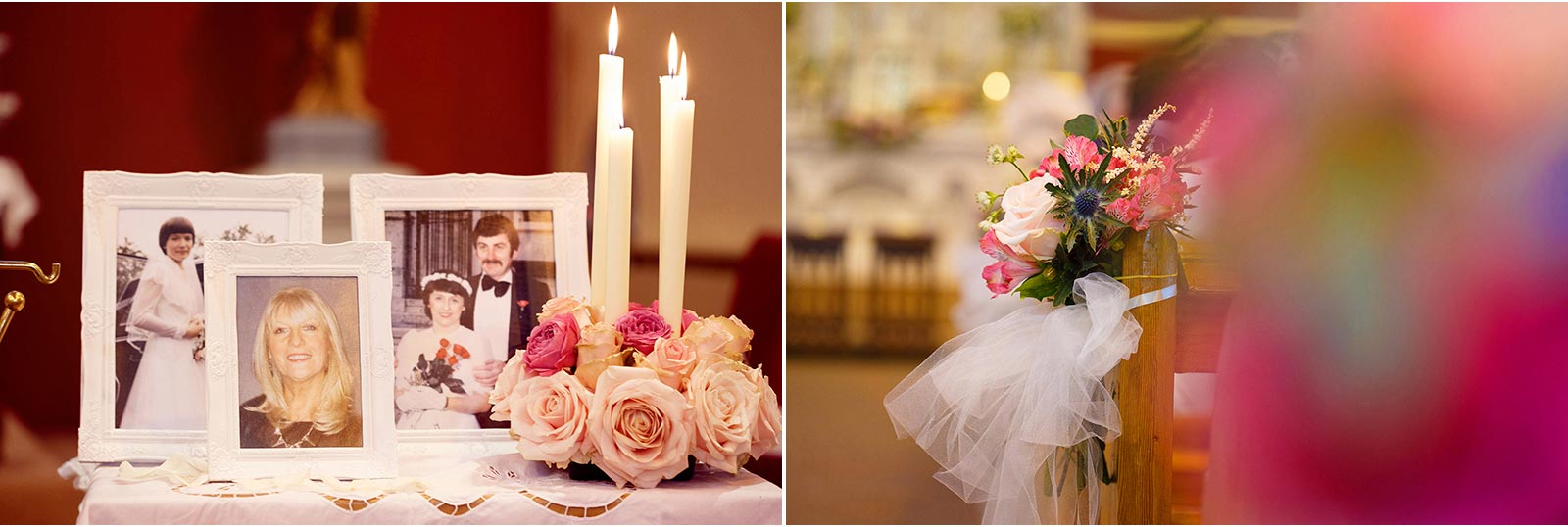 moments and flowers decorate church