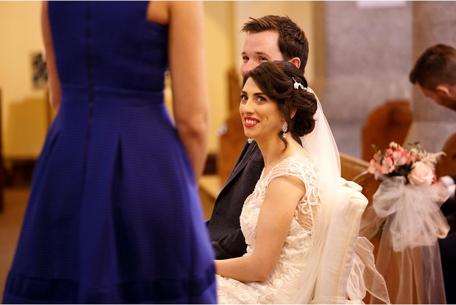 smiling bride during wedding mass