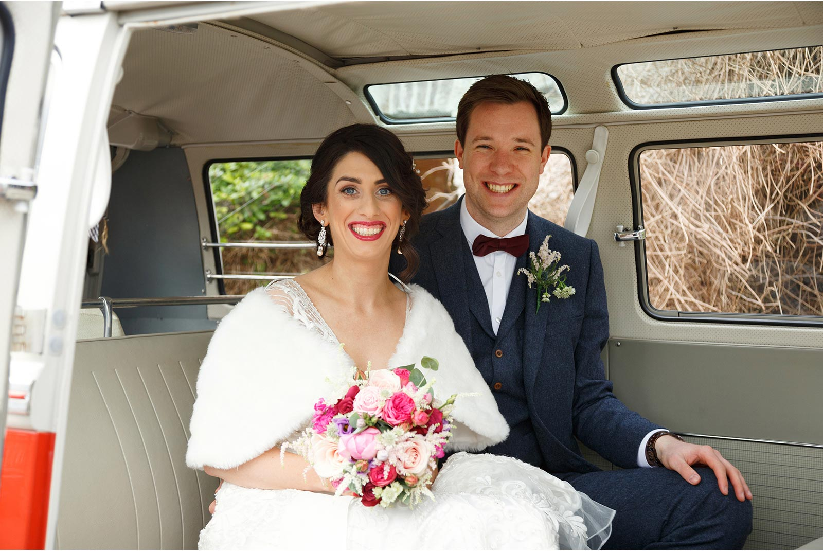 newly married couple wedding bus