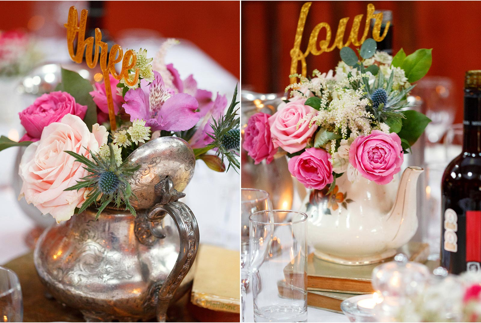 pink wedding decor wiht flowers and teapots