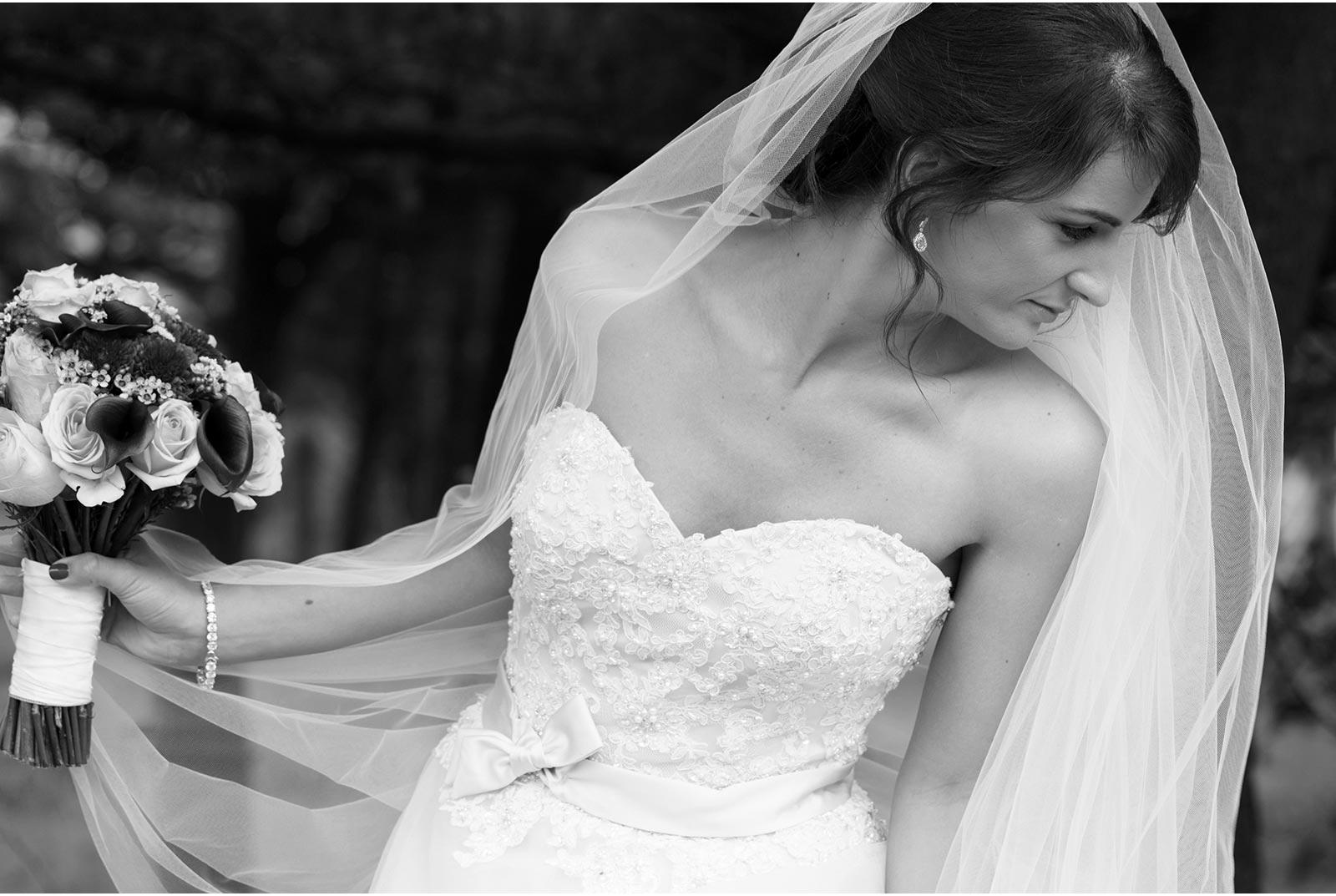 black and white of elegant bride