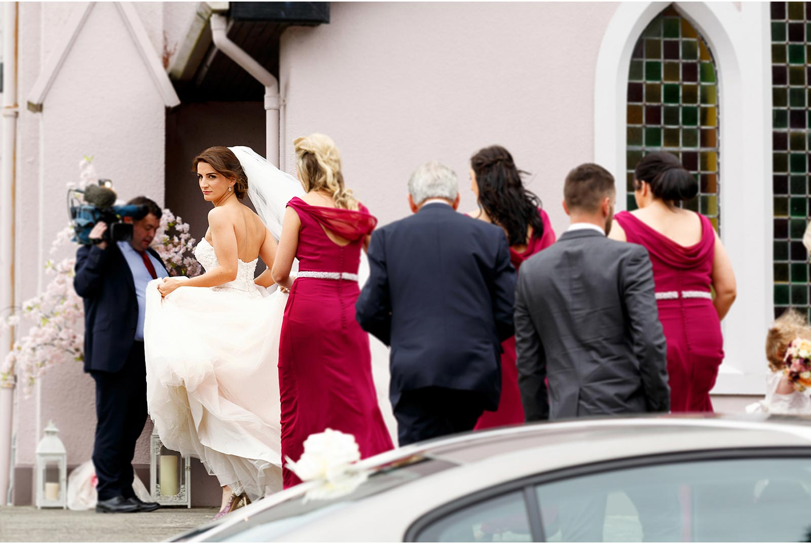 bride makes her way to the church