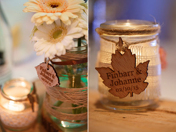 Cork City wedding wooden table decorations