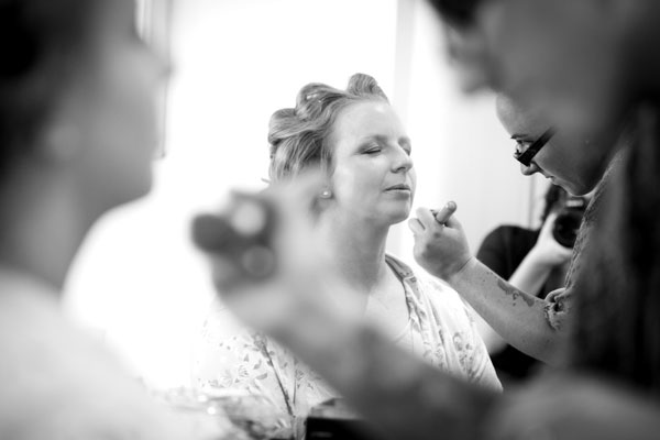 Bride gets make up applied in Clarion Hotel Cork