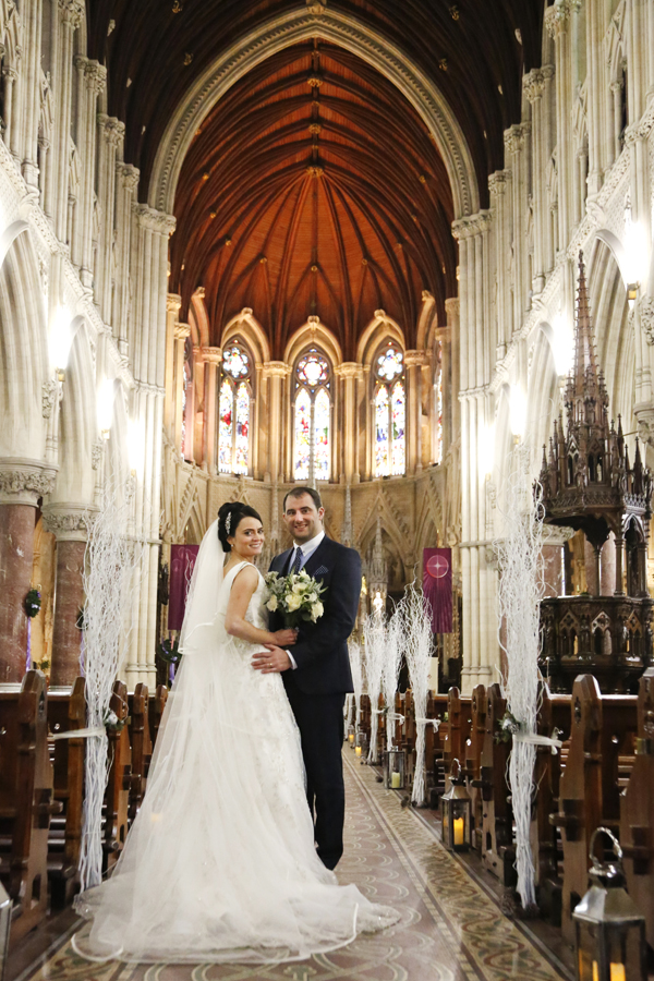 bride and groom in Cobh Cathedral