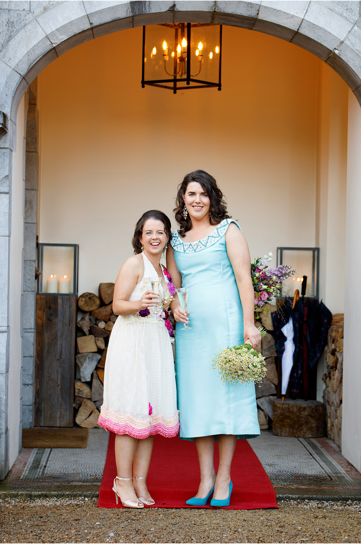 brides at the entrance to Dromquinna Manor
