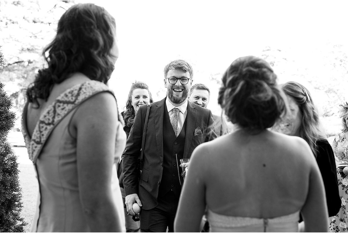 happy wedding guests at Dromquinna Manor