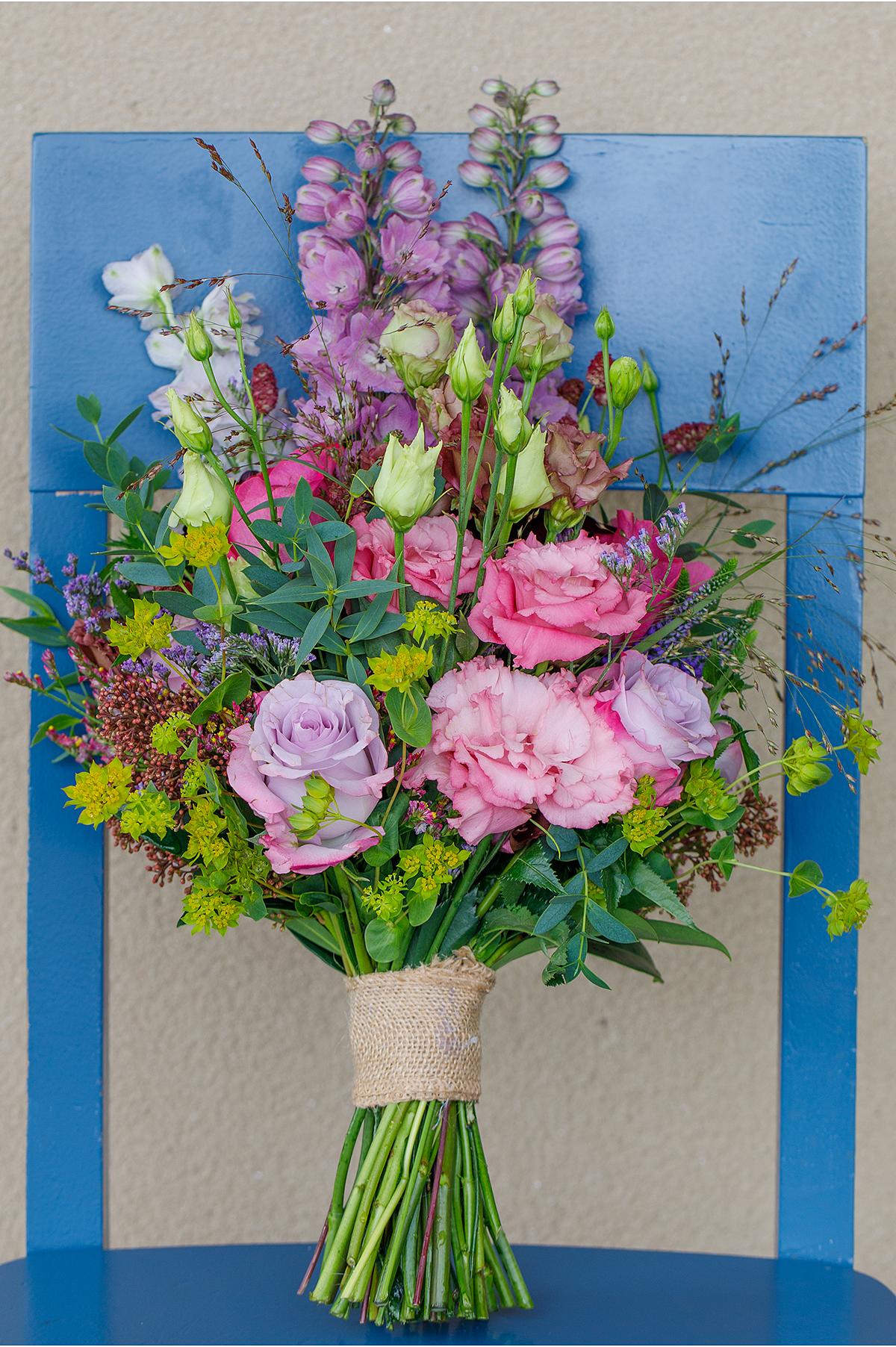 pink organic wild flower wedding bouquet