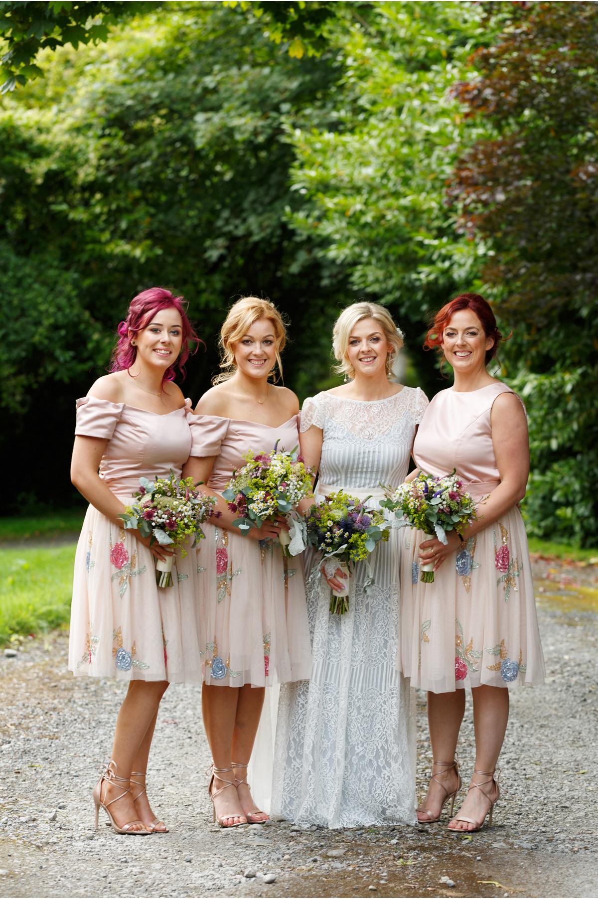 peach feminine bridesmaids 2 piece