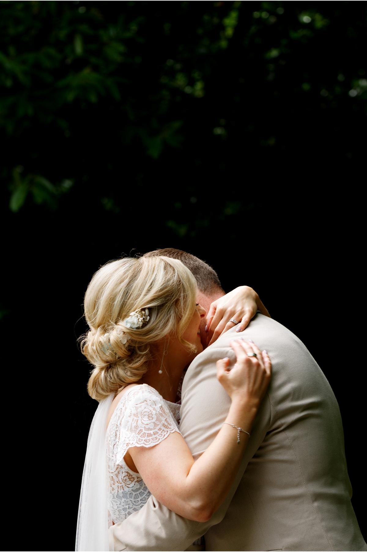 newly weds hug. I love you