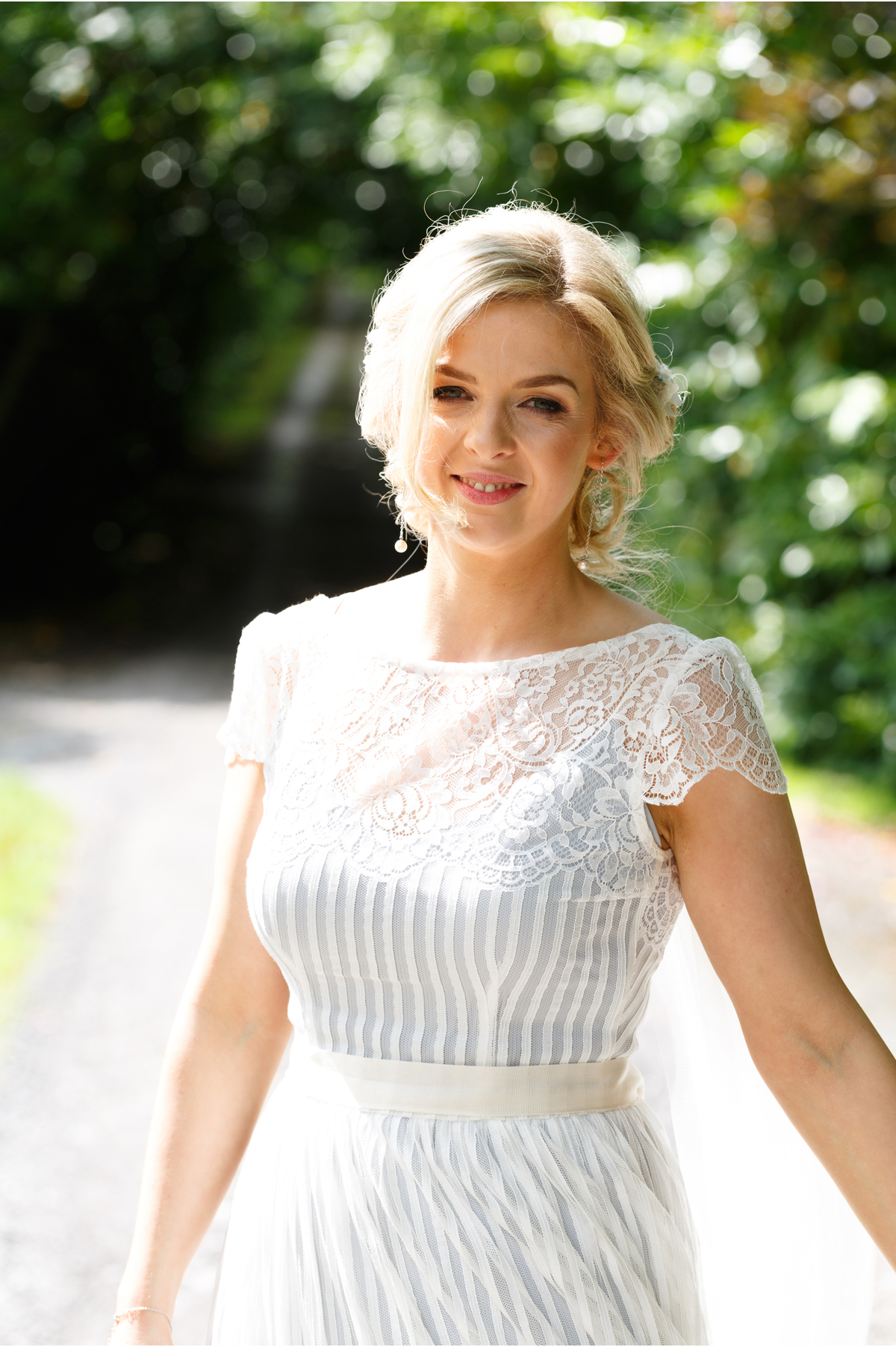 bridal portrait in sunshine