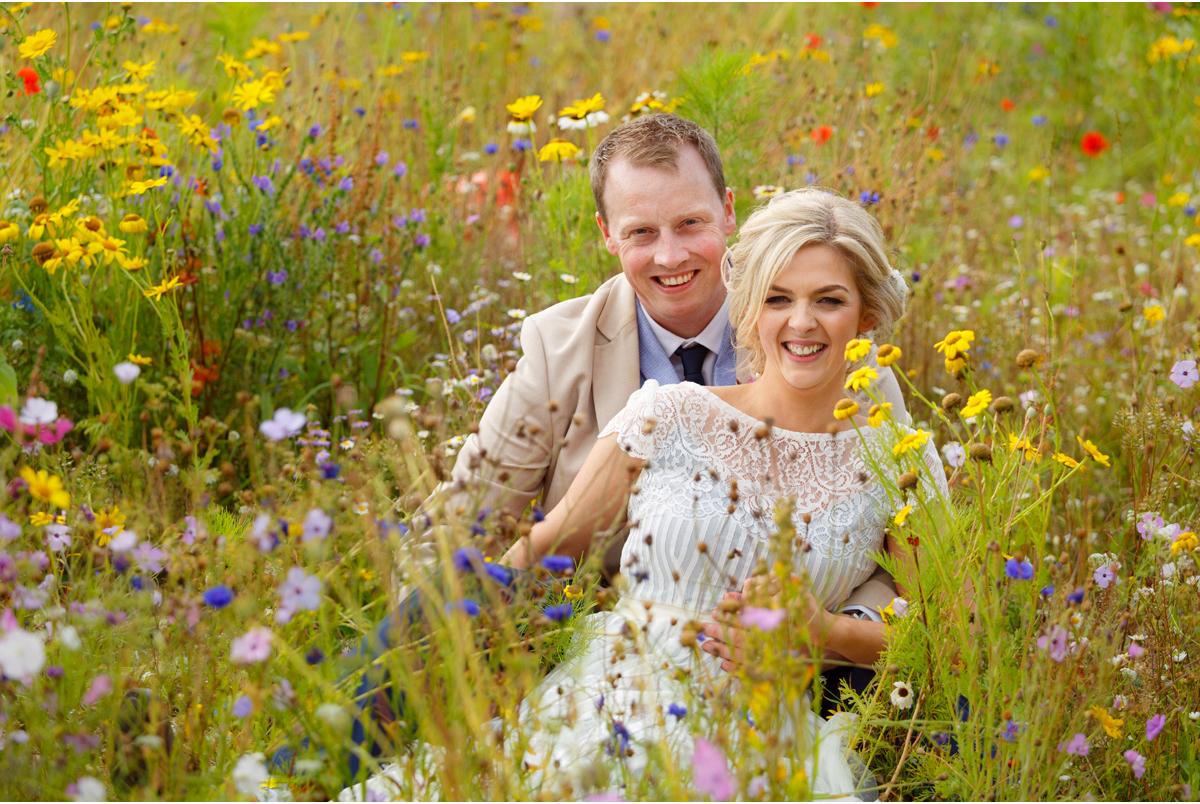 wild flower field for wedding portraits