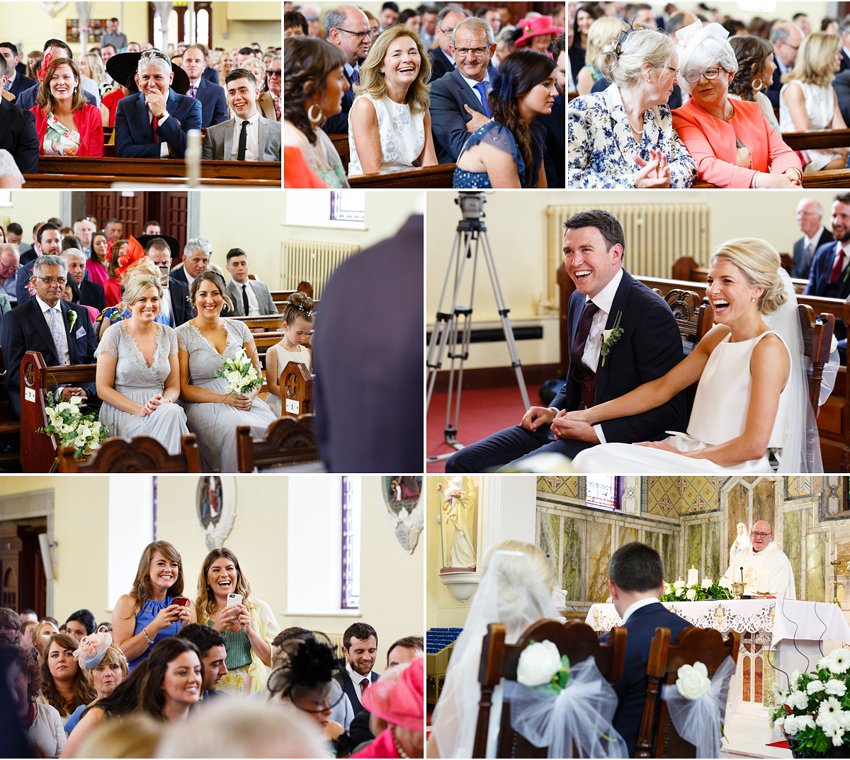 7 small photographs of wedding guest laughing