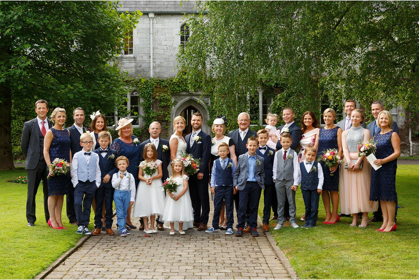 UCC wedding, presidents gardens family photograph