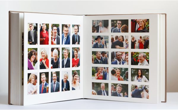 candid shots displayed in a matted queensberry wedding album