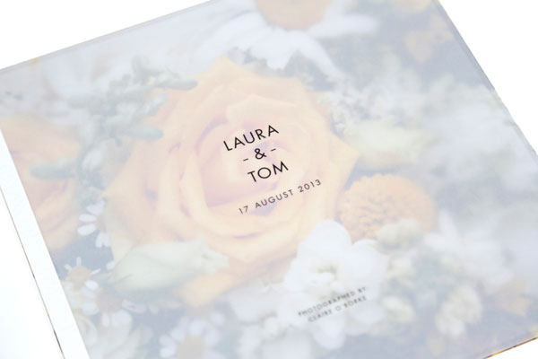 opening translucent page on Queensberry wedding album